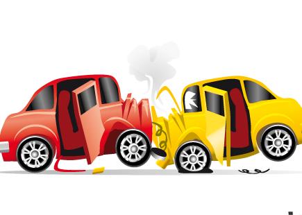 fumetto di scontro frontale automobili