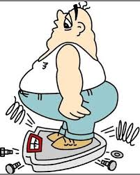 fumetto di obesità e bilancia che scoppia